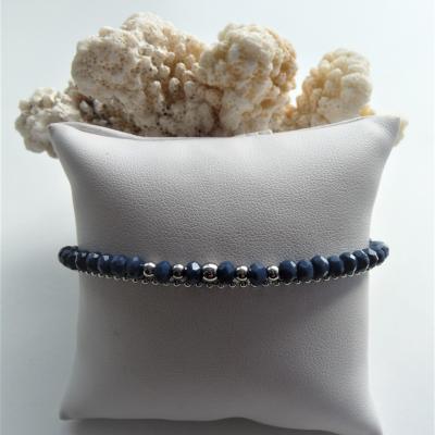 Perles en verre bleu pétrole, perles et chaine acier inox 22 €