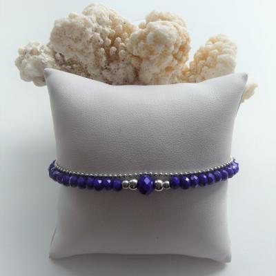 Perles en verre marine, perles et chaîne acier inox 22 €