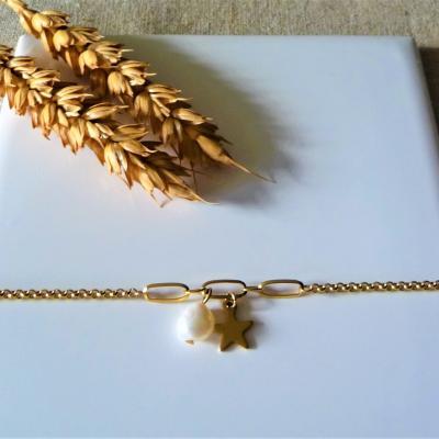 Perle d'eau douce, chaine dorée acier 22 €
